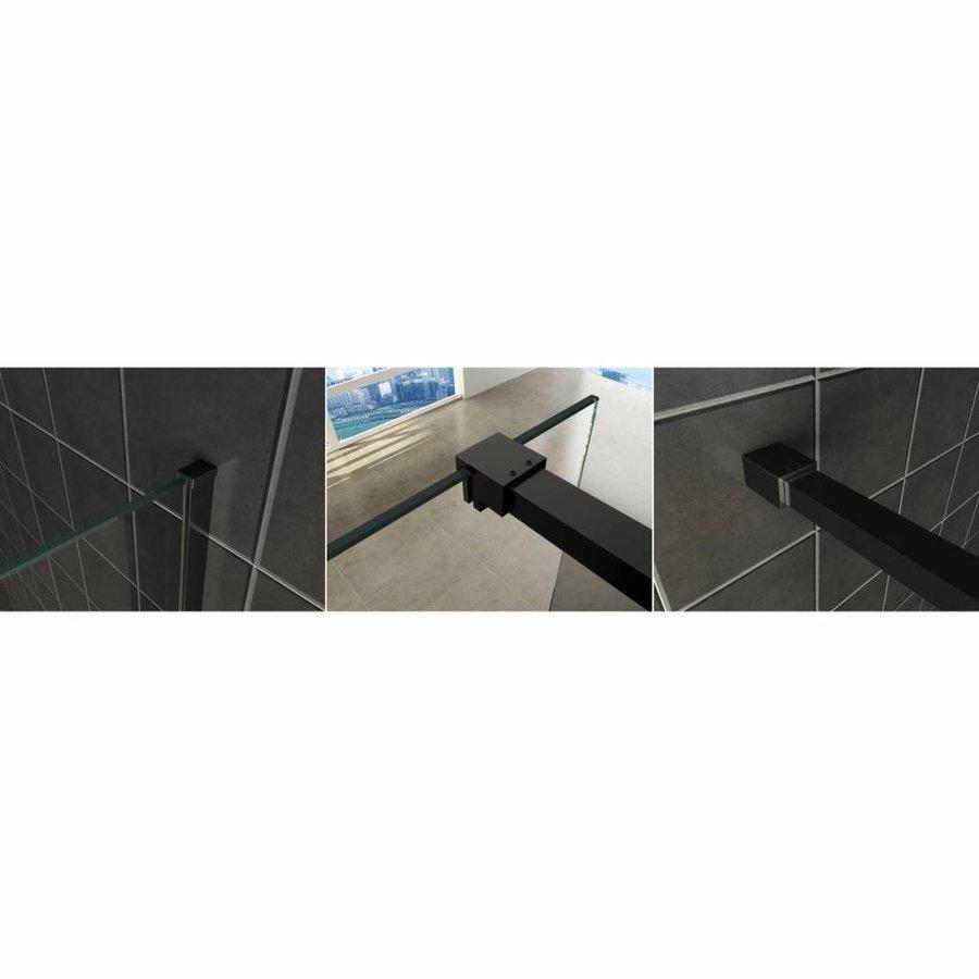 AQS Inloopdouche Pro Line Middenband 8mm Nano Coating Mat Zwart Profiel en Stang (ALLE MATEN)