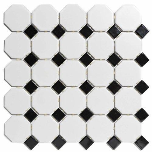 Mozaïektegel The Mosaic Factory Paris Octagon 56x56 en 23x23 mm Porselein Wit/Zwart