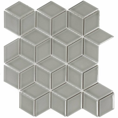 Mozaïektegel The Mosaic Factory Paris Cubic 48x81 mm Glanzend Porselein Lichtgrijs