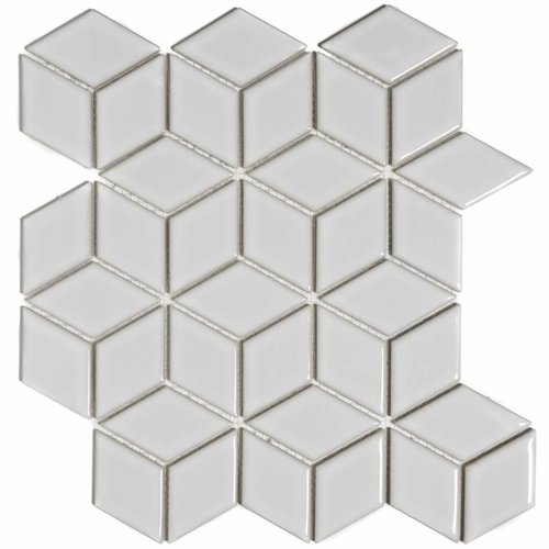 Mozaïektegel The Mosaic Factory Paris Cubic 48x81 mm Glanzend Porselein Wit