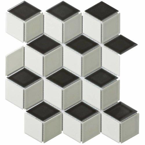 Mozaïektegel The Mosaic Factory Paris Cubic 48x81 mm Wit/Grijs/Zwart-Mix