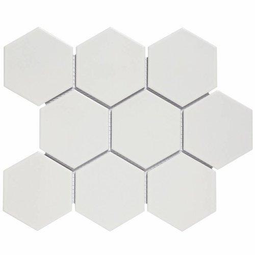 Mozaïektegel The Mosaic Factory Barcelona Hexagon 95x110 mm Porselein Mat Wit