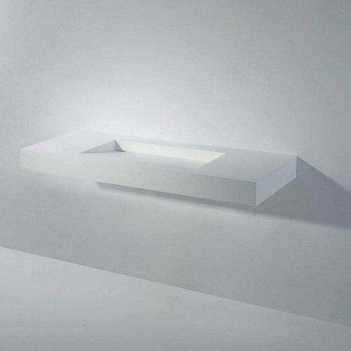 Wastafel Ideavit Solidsquare 120x46x10 cm Solid Surface Mat Wit