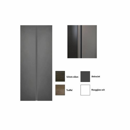 Kolomkast Sanicare Q7 2-Deurs Soft-Closing Greeploos 160x67x32 cm Hoogglans Wit
