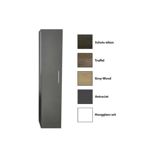 Kolomkast Sanicare Q4/Q15 1 Soft-Closing Deur Inclusief Waszak 160x33,5x32 cm Grey-Wood