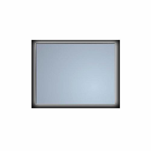 Badkamerspiegel Sanicare Q-Mirrors Ambiance 'Warm White' LED-verlichting Handsensor Schakelaar 70x85x3,5 cm Zwarte Omlijsting