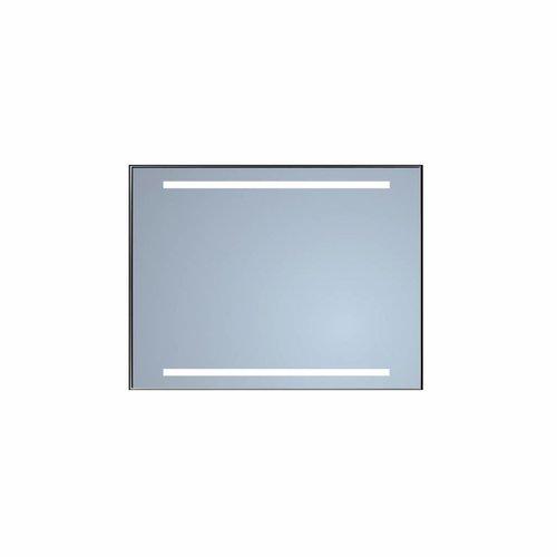 Badkamerspiegel Sanicare Q-Mirrors Twee Horizontale Banen 'Cold White' LED-Verlichting 70x70x3,5 cm Zwarte Omlijsting