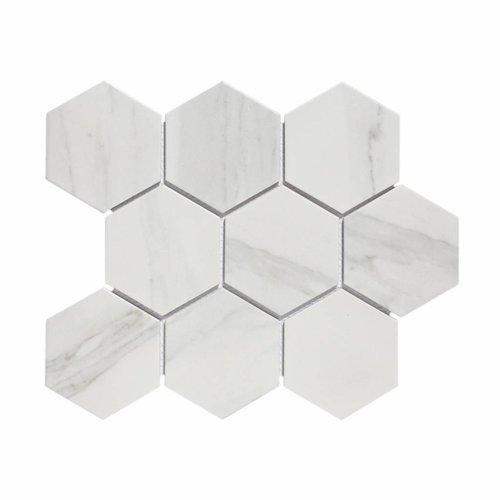 Mozaiek Hexagon Marmer Carrara 9.5x11 cm Mat Wit Prijs (doosinhoud 0.76 m2)