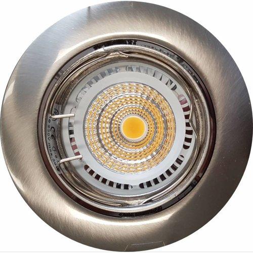 Inbouw Spotlamp RVS Look 81x63 mm Inclusief Armatuur en Gu10 4 Watt