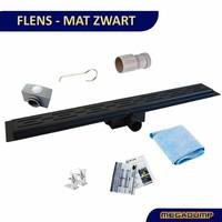 Mat Zwart Douchegoot RVS Drain met los sifon en DESIGN rooster 7cm breed (30 t/m 200cm)