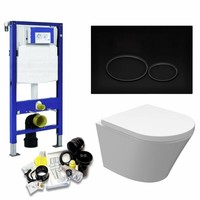 UP320 Toiletset 37 Aqua Splash Vesta Junior Rimless 47cm Met Matzwarte Drukplaat