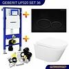 Geberit UP320 Toiletset 36 Aqua Splash Vesta  Rimless Met Matzwarte Drukplaat