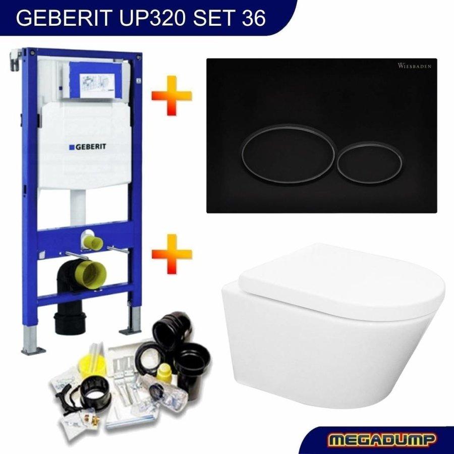 UP320 Toiletset 36 Aqua Splash Vesta  Rimless Met Matzwarte Drukplaat