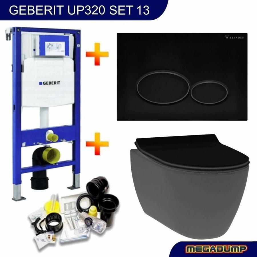 UP320 Toiletset 13 Idevit Alfa Matzwart Rimfree Met Matzwarte Drukplaat