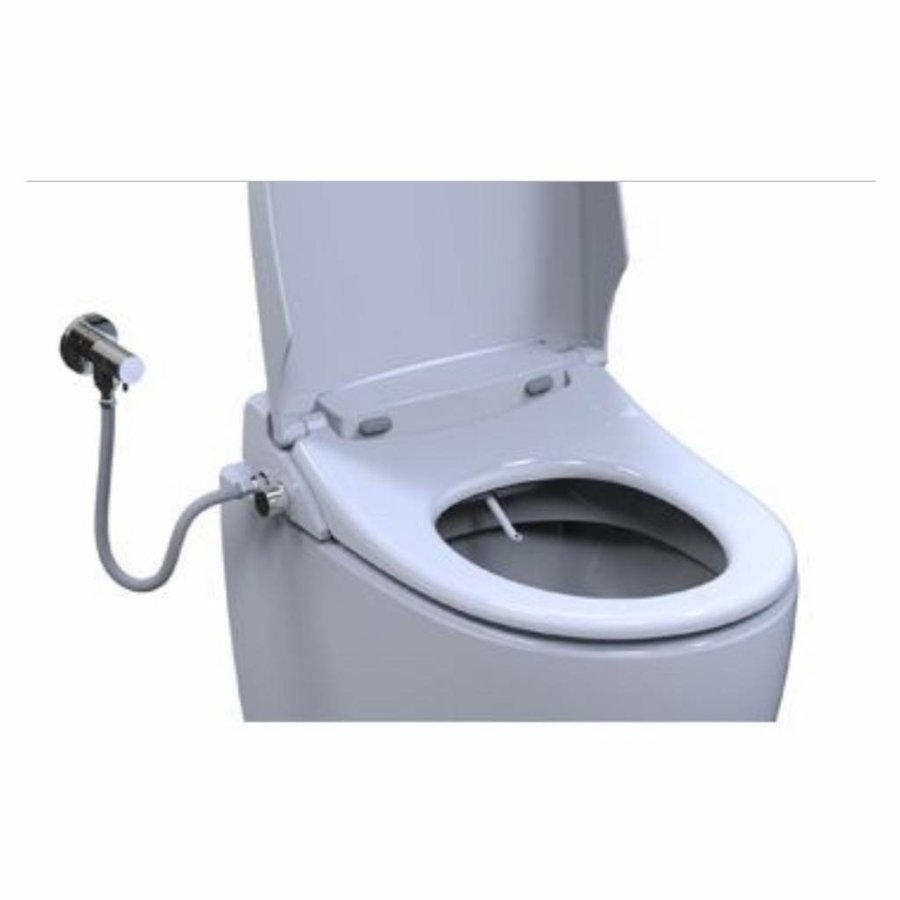 Douchewc Closetztting Rapo Lavalino met Wateraansluiting en Bidet-functie met Softclose en Quickrelease Wit