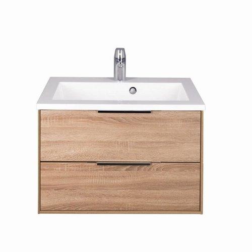 Badmeubel Mylana 90cm Sonoma Oak Softclose (Verschillende wastafels en spiegels mogelijk)