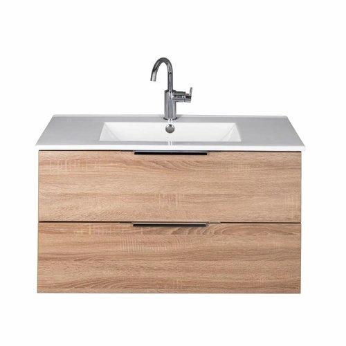 Badmeubel Siena 90cm Sonoma Oak Softclose (Verschillende wastafels en spiegels mogelijk)