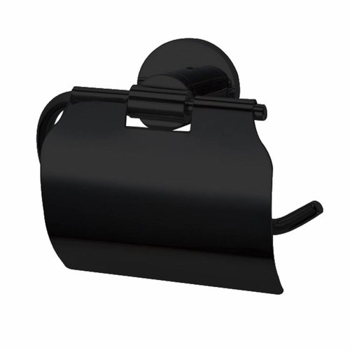 Toiletrolhouder Nero Zwart met klep