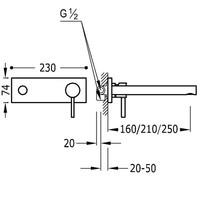 Alp Inbouw mengkraan 210mm 20320002