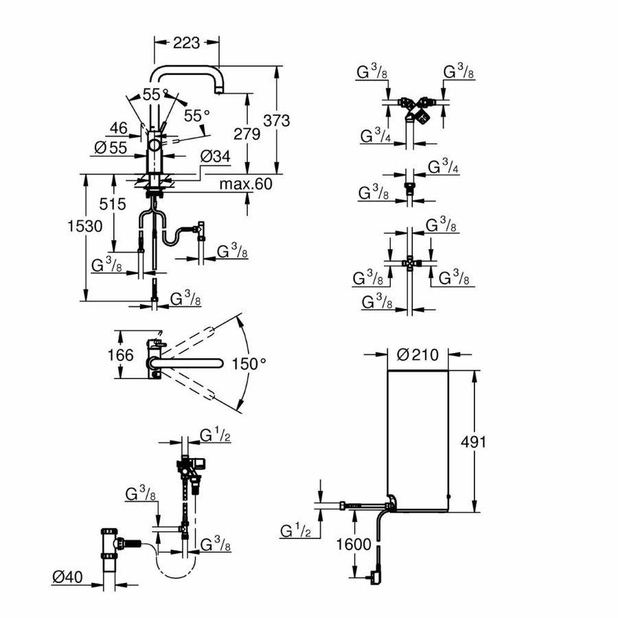 Kokendwaterkraan Red New L Size Boiler Mono Of Duo (Rvs Of Chroom)