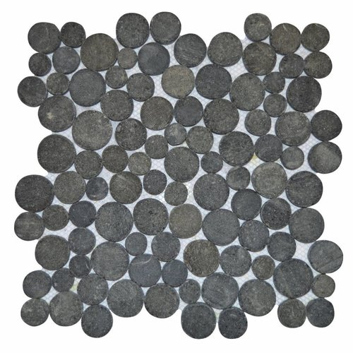 Mozaïek Oval Black Gray Lava/Riverstone 30X30 Cm (Prijs Per 1M²)