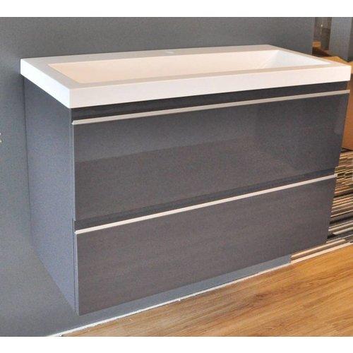 Badmeubel Set Extra Compact 80X36 Cm Hoogglans Grijs