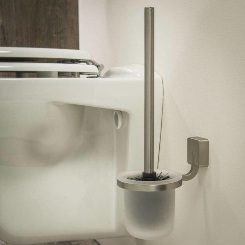 Toiletborstelhouder Impuls Muur Glas/ Rvs Geborsteld 38Cm