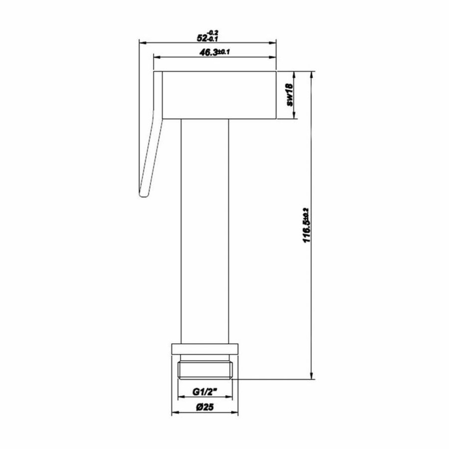 Handdouche Vierkant Chroom Knijp-Bidet Functie