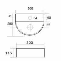 Fontein Moon Compact Half Rond 30X25 Cm
