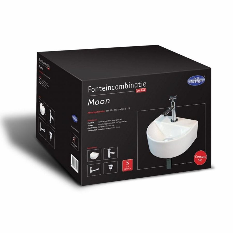 Fonteinset Moon One Pack Half Rond 25X30 Cm