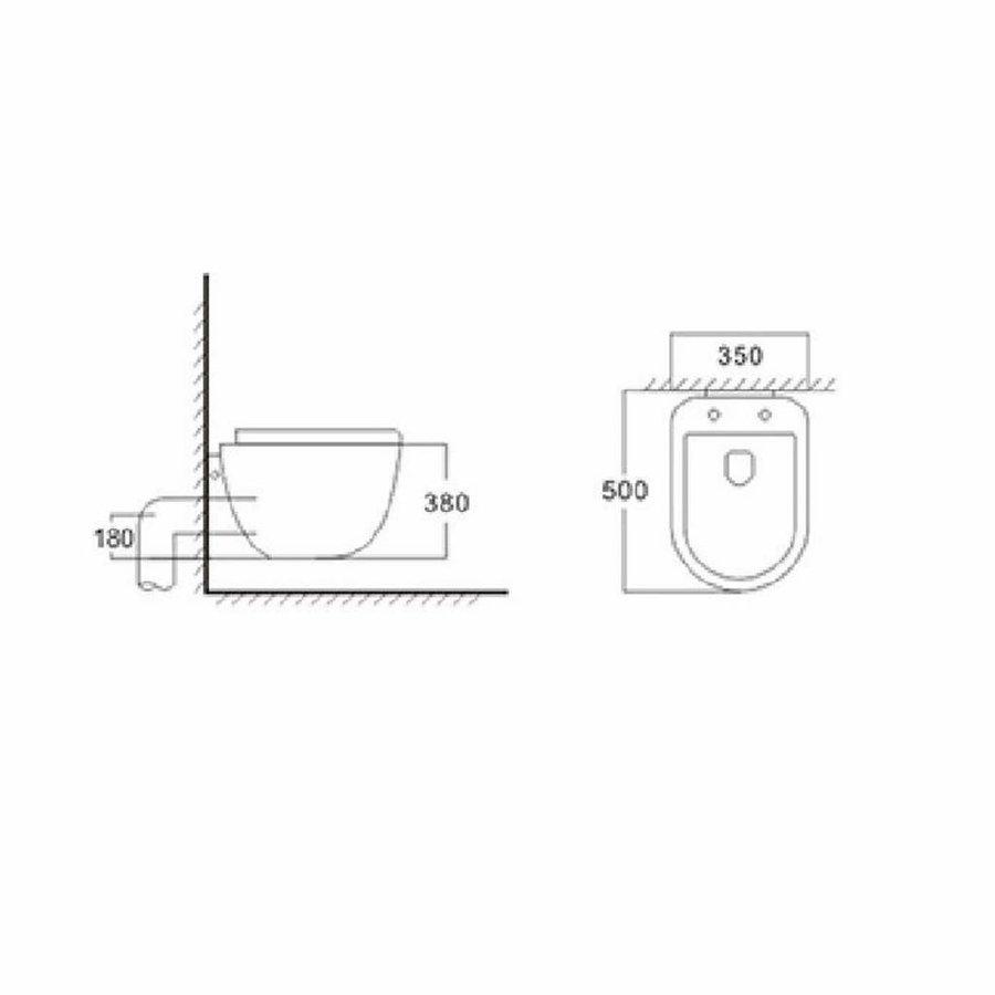 Wandcloset Quali One-Pack Incl. Zitting 50 Cm