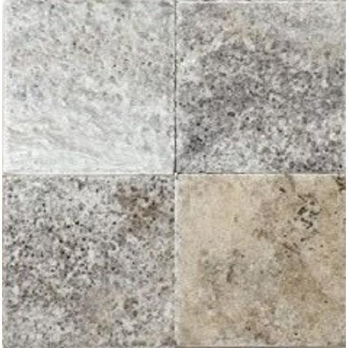 Silver Travertin / Apulia Grigio Anticato 20X20X1, Getrommeld / Verouderd P/M²