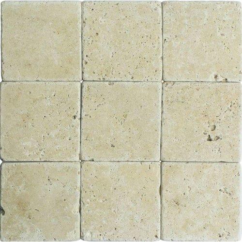 Classic Travertin / Apulia Ivory(Beige) Anticato 10X10X1, Getrommeld / Verouderd P/M²