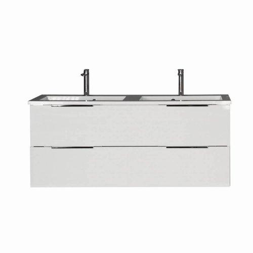 Badmeubel Siena 120cm Hoogglans Wit Softclose (Verschillende wastafels en spiegels mogelijk)