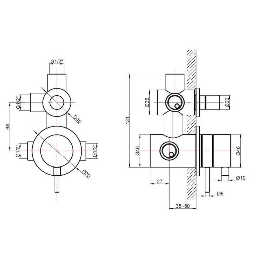Thermostaatkraan Ore Weel Inbouw 2-Weg Pull & Push Rvs