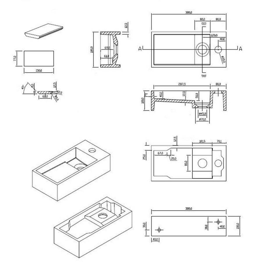 Fontein Arty Just Solid 36X18X10Cm Mat Wit (Kraangat Rechts)