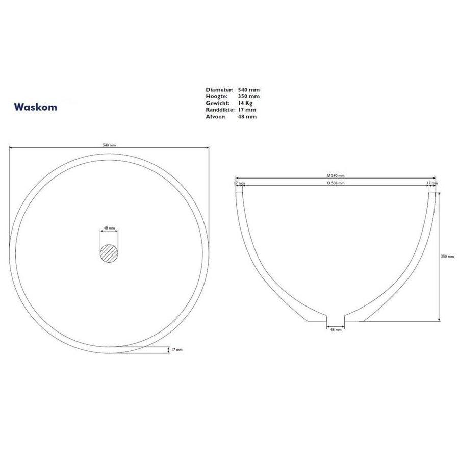 Waskom Just Solid Surface Opbouw Eco 54 Cm Glans Wit