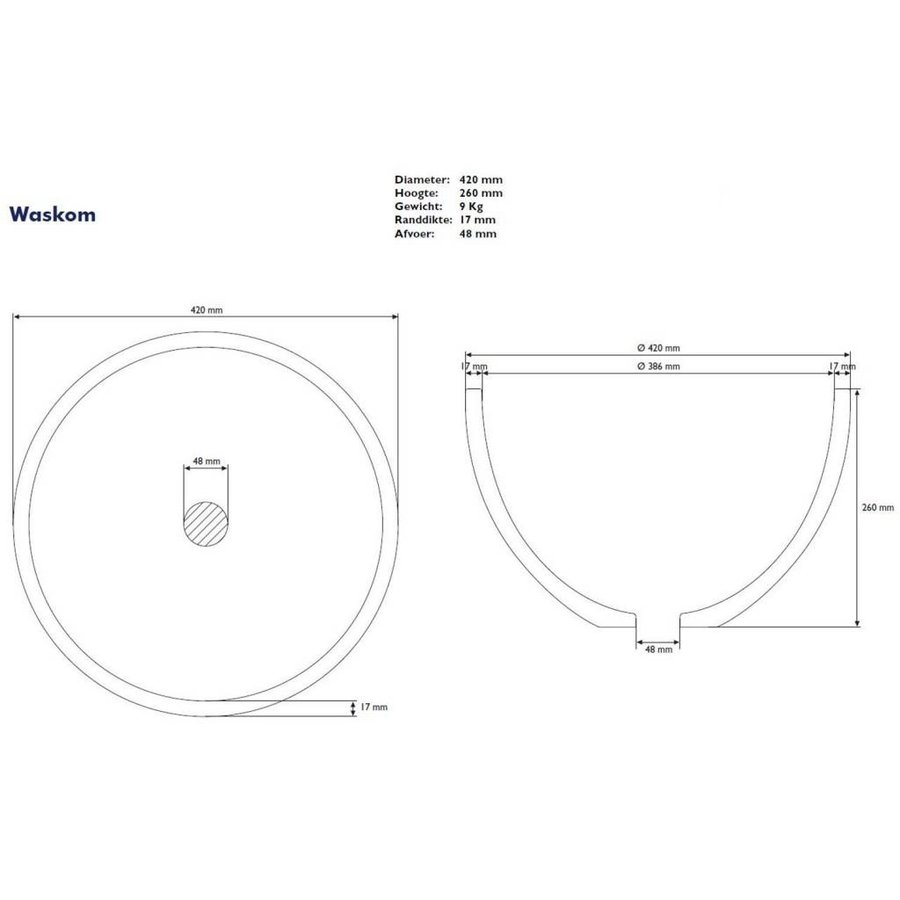 Waskom Just Solid Surface Opbouw 42 Cm Glans Wit