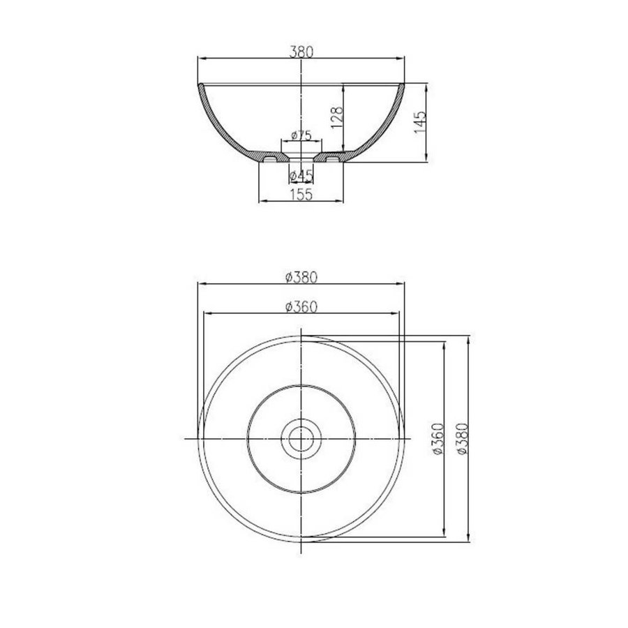 Waskom Rondy Opbouw Mat Wit 38 Cm Solid Surface