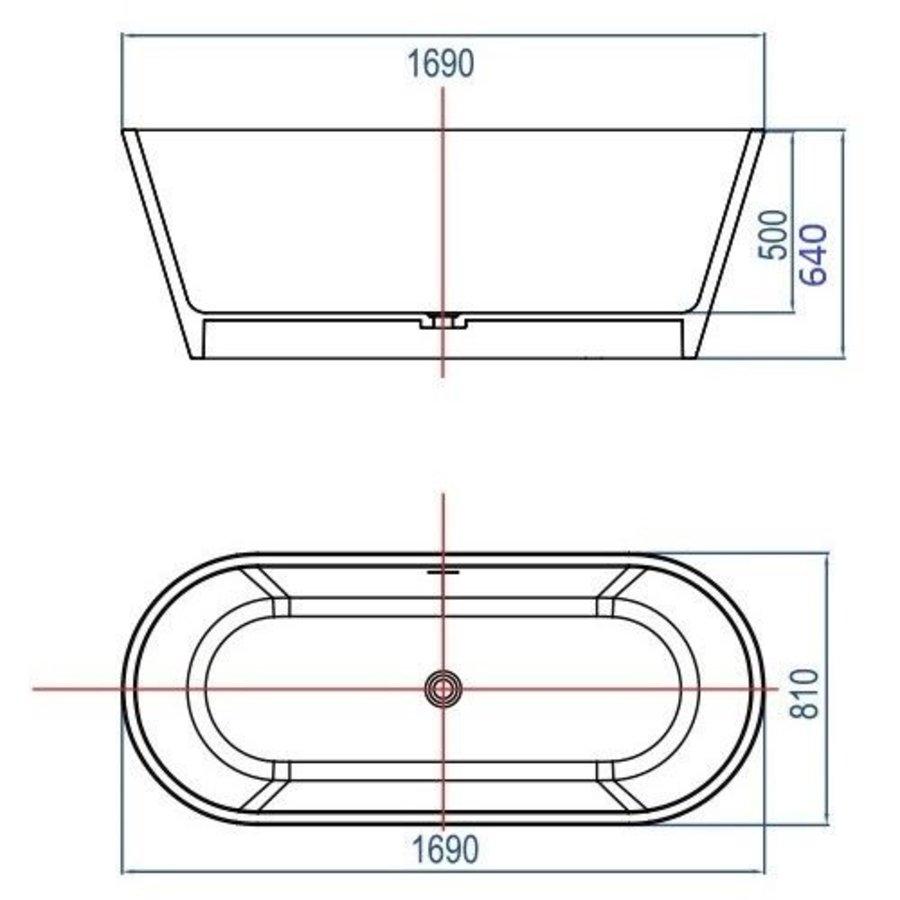 Vrijstaand Bad Mooi 170X80X64Cm Solid Surface