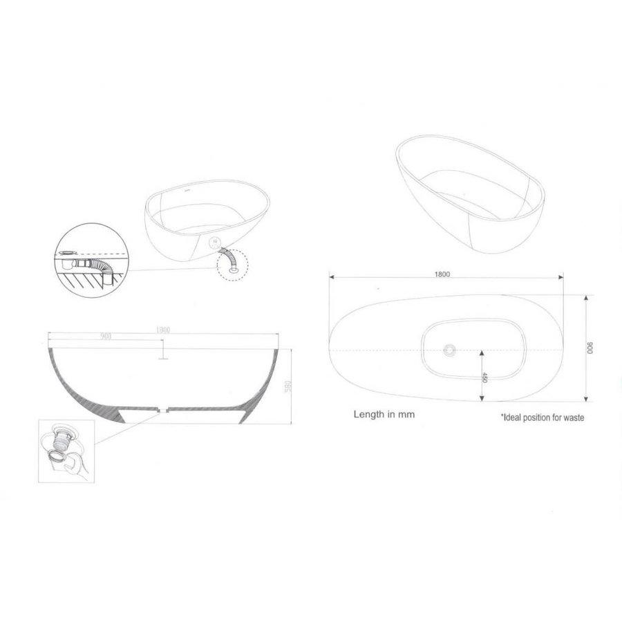 Vrijstaand Bad Puur 180X90X58Cm Solid Surface Mat Wit