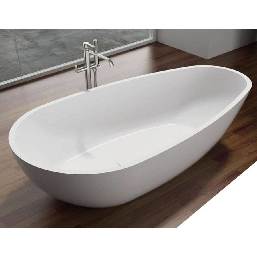 Vrijstaand Bad Puur 180X90X58Cm Solid Surface Glans Wit