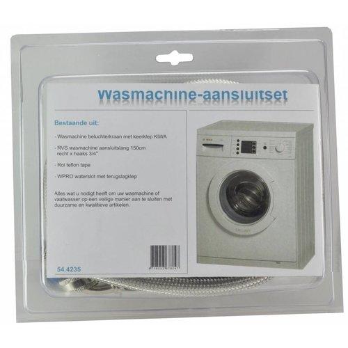 Rvs Wasmachine Aansluitset 150Cm + Kraan + Waterslot