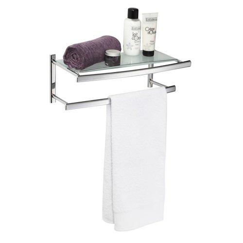 Ovalys Hangende Handdoekhouder Voor Muurbevestiging Met 2 Stangen En Melkglazen Tablet Chroom