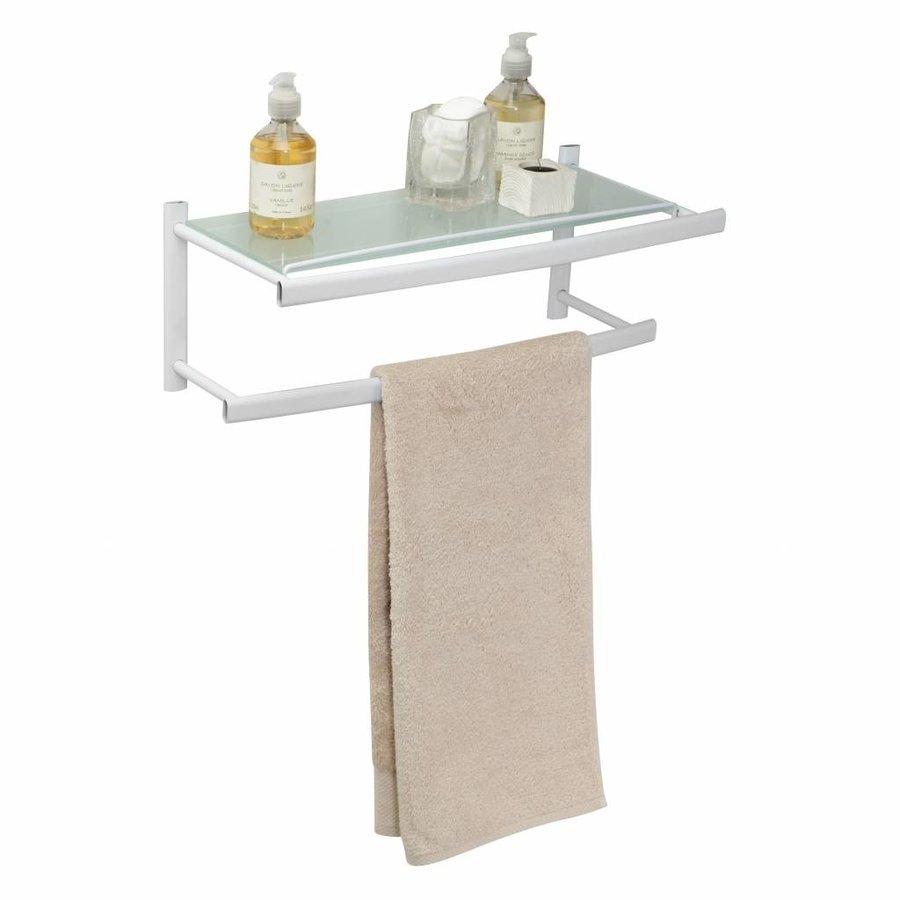 Ovalys Hangende Handdoekhouder Voor Muurbevestiging Met 2 Stangen En Melkglazen Tablet Wit