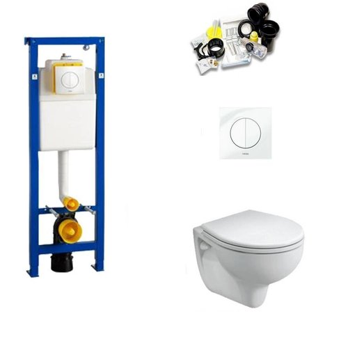 Toiletset Met Wisa XS Inbouwreservoir en Geberit E-Con I wandcloset met soft-close bril (set Nr.22)