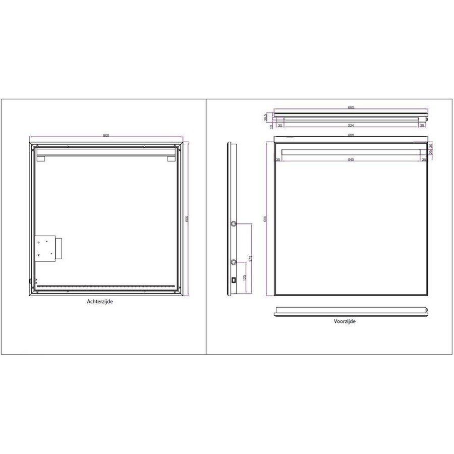 Ambi+ Condensvrije Spiegel 60X60 Cm Met Led Verlichting