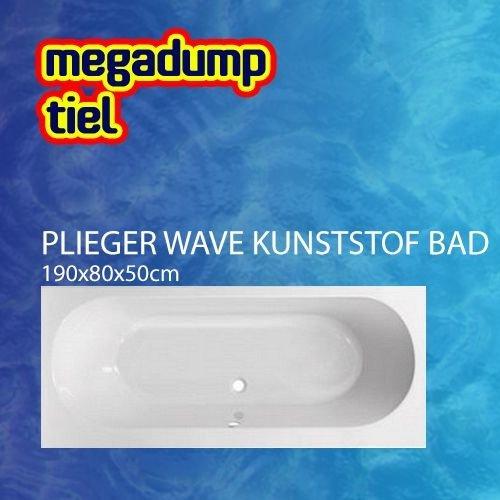 Wave Kunststof Bad Acryl Rechthoekig 190X80X50Cm Met Poten Wit