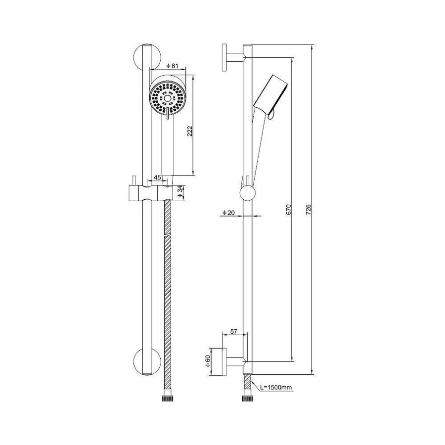 Abzu Luxe Glijstangset Compleet Geborsteld staal