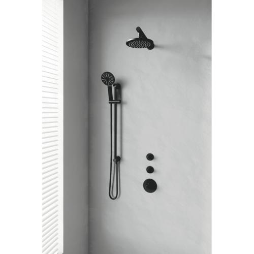 Thermostatisch Inbouwdoucheset Brauer Black 20cm Hoofddouche Wandarm 3 Standen Handdouche op Glijstang Mat Zwart